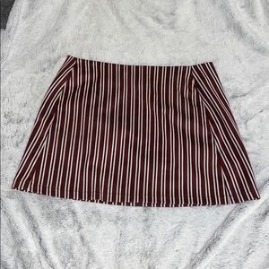 Maroon and white stripped skirt